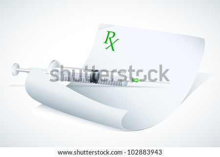 vector illustration of syringe on prescription paper - stock vector