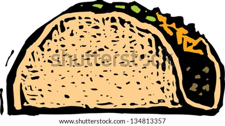 Vector illustration of taco - stock vector