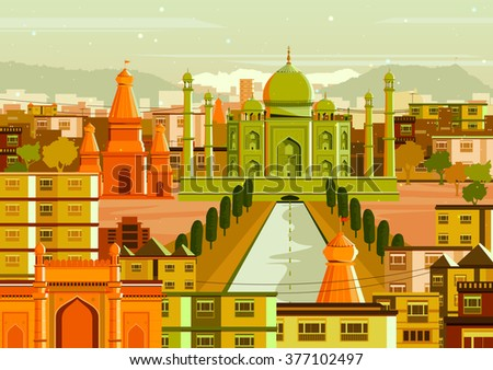 vector illustration of Taj Mahal with different building in India - stock vector