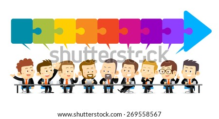 Vector illustration of Team Working In Office.Successful Business Partners Discussing Ideas under a puzzle of arrow sign At Meeting. Caucasian People. - stock vector