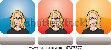 Vector illustration of teenager face in three expressions: neutral, sad and happy - head and shoulders composition. Layered vector EPS10 format file. - stock vector