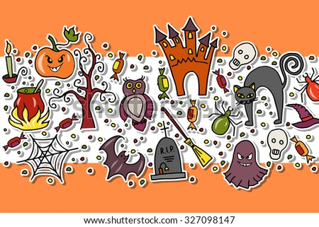 Vector illustration of template for halloween party. Halloween hand sketched lettering and objects set on textured background. Poster, banner or background for Halloween Party Night - stock vector