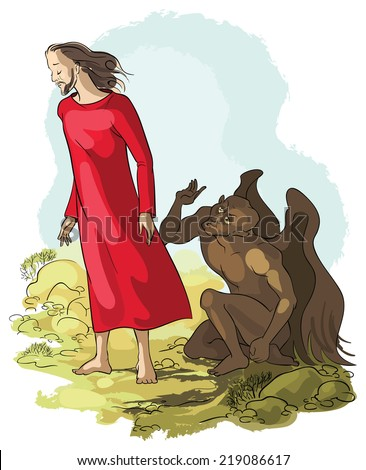 Vector illustration of Temptation of Jesus Christ in the Wilderness. Also available raster and outlined version - stock vector