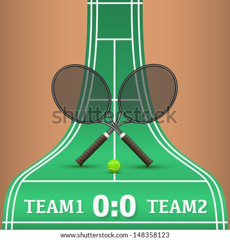 Vector illustration of tennis racket and ball on court - stock vector