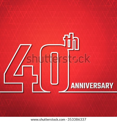 Vector Illustration of 40th Anniversary Outline for Design, Website, Background, Banner. Jubilee silhouette Element Template for greeting card - stock vector
