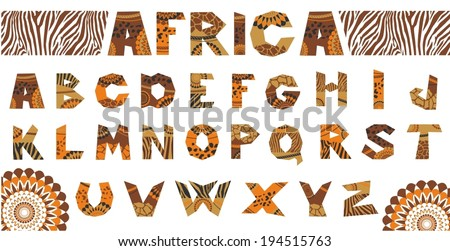 Vector illustration of the African alphabet - stock vector