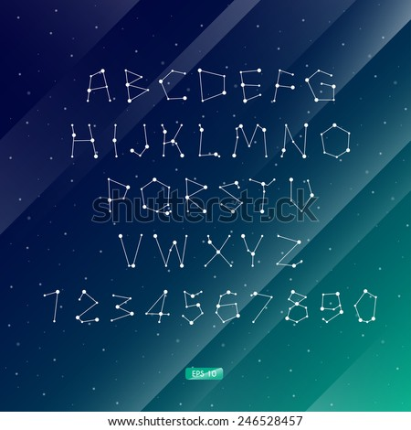 Vector illustration of the alphabet . Set of letters . Font of the constellations . The night sky. Abstract background. - stock vector
