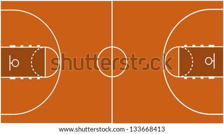 Vector Illustration of the Basketball Court Field Ground - stock vector
