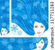 Vector illustration of the beautiful winter girl with snowflakes in blue hair. Three banners: vertical, horizontal and square, for your Christmas or winter design - stock vector