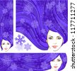 Vector illustration of the beautiful winter girl with snowflakes in violet hair. Three banners: vertical, horizontal and square, for your Christmas or winter design - stock vector