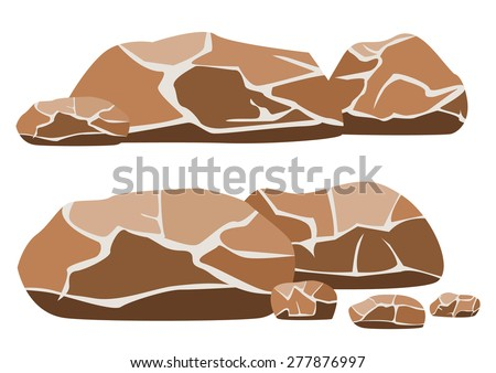 Vector illustration of the big and small rocks on a white background - stock vector