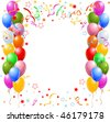 Vector illustration of the border of multicolored balloons and confetti - stock vector