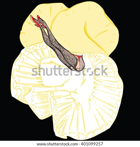 Vector illustration of the cancan dancer's legs in skirt and stockings - stock vector