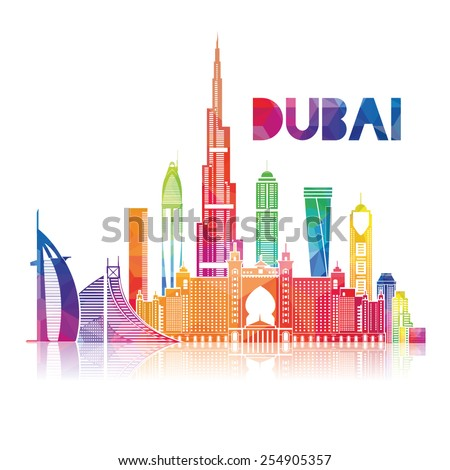 vector illustration of the city of Dubai in the United Arab Emirates, the symbols of the city skyscrapers hotels, stylish graphics - stock vector