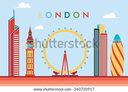 vector illustration of the city of London in the UK, the symbols of the city skyscrapers hotels, stylish graphics. Great Background - stock vector