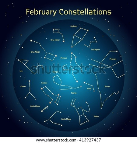 Vector illustration of the constellations of the night sky in February. Glowing a dark blue circle with stars in space Design elements relating to astronomy and astrology - stock vector