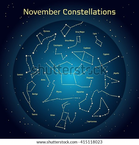 Vector illustration of the constellations of the night sky in November. Glowing a dark blue circle with stars in space Design elements relating to astronomy and astrology - stock vector
