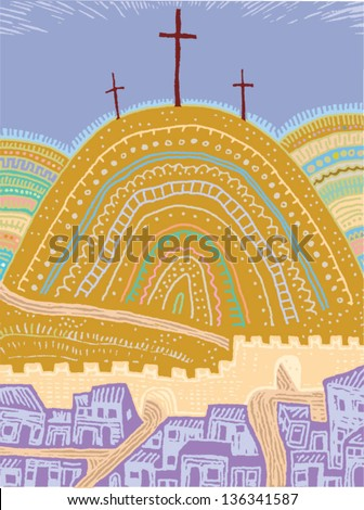 Vector illustration of the crucifixion of Jesus - stock vector