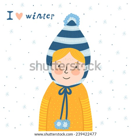 """Vector illustration of the cute little girl with funny hat, Winter card with smiling baby, snowflakes and text """"I love winter"""". - stock vector"""