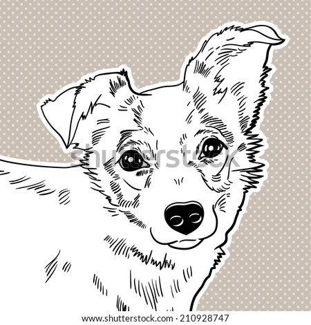 Vector illustration of the dog. black and white - stock vector