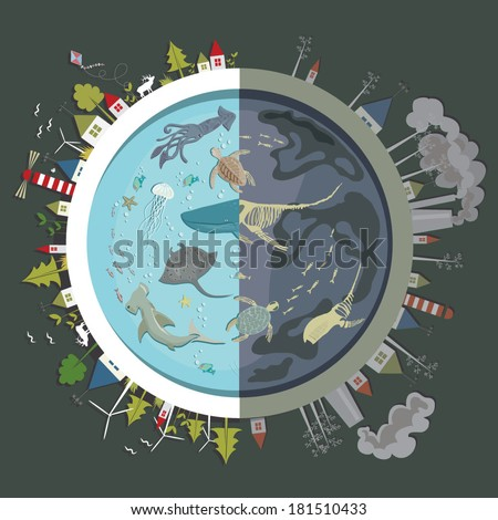 Vector illustration of the Earth and ocean stylized with two sides one of which is eco friendly, green and cheerful and the other is in the shadow with nature and animals  neglected - stock vector