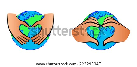 Vector illustration of the Earth anf hands forming a heart shape, we love planet - stock vector