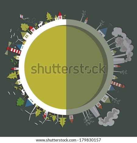 Vector illustration of the Earth stylized as a button with two sides one of which is eco friendly, green and cheerful and the other is in the shadow with nature neglected  - stock vector