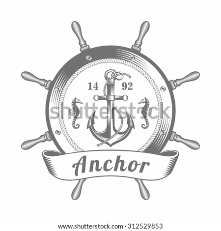 vector illustration of the emblem of the anchor located inside the helm, in the old-fashioned style and line-art style. Can be used as a tattoo / vector illustration emblem anchor - stock vector