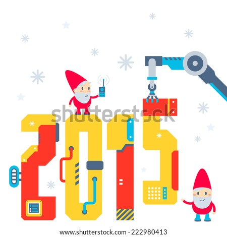 Vector illustration of the gnome operates the machine that puts presents and puts the number 2015. Color bright flat design for card, banner, poster, advertising, blog  - stock vector