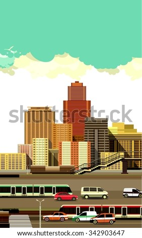 vector illustration of the industrial landscape of the city motorway and transport - stock vector