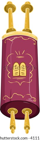 Vector illustration of the Jewish Torah closed. - stock vector