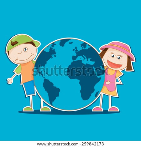 vector illustration of the kids holding the world - stock vector