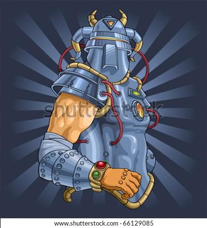 Vector illustration of the knight in a futuristic armor. - stock vector