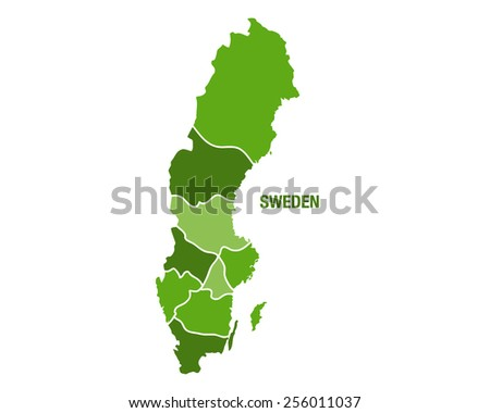 Vector illustration of the map of Sweden - stock vector