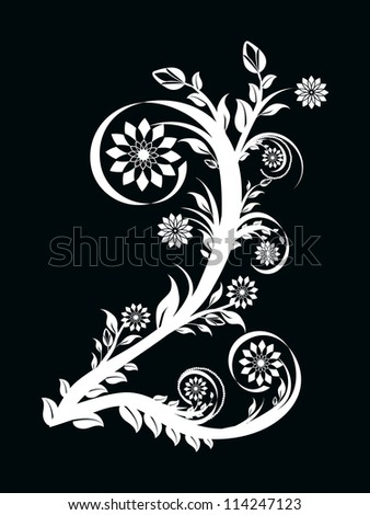 vector illustration of the number two made with floral ornament on black background - stock vector