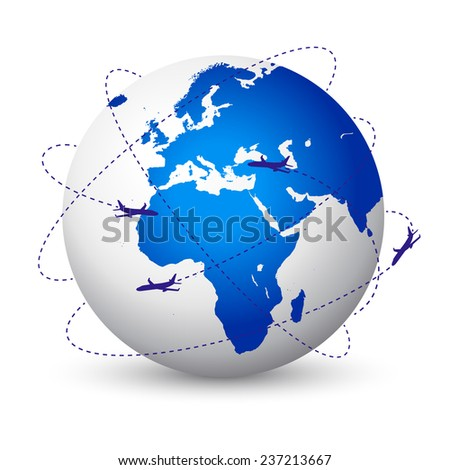 Vector illustration of the planet Earth with airplanes flying around - stock vector