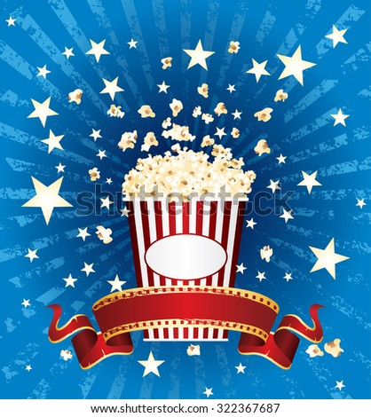 vector illustration of the popcorn and stars explosion on blue grunge burst with red blank cinema banner - stock vector