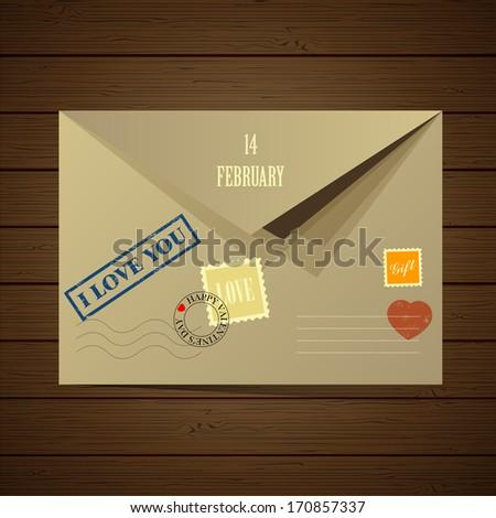 Vector illustration of the postal envelope. Valentine-themed. Postage stamp. Print. Valentine card. Love - letter.  - stock vector