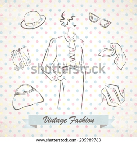 Vector illustration of the retro stylish fashion woman with accessories - stock vector
