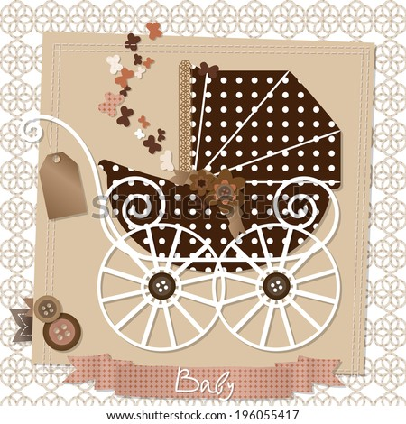 Vector illustration of the scrap-booking card with vintage baby stroller - stock vector