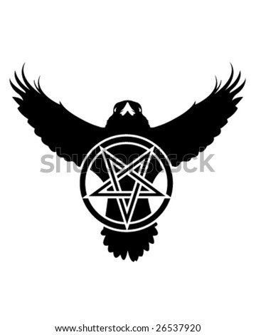 Vector illustration of the silhouette of a raven with a pentagram in grunge style. - stock vector