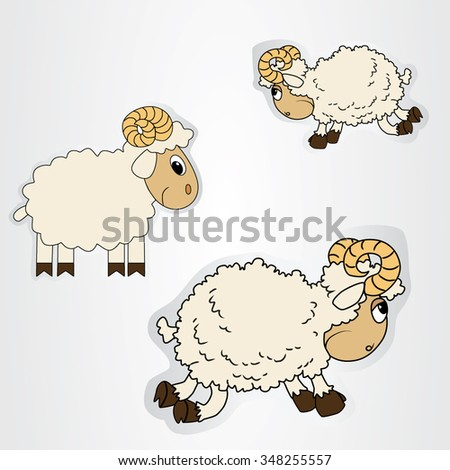 Vector illustration of the stickers with cartoon sheep. - stock vector