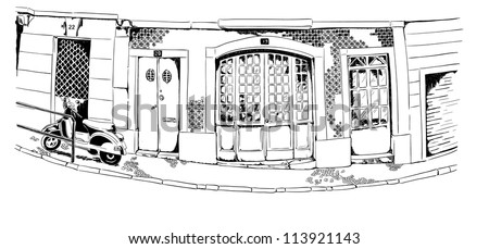 Vector illustration of the street drawn in sketch style on a white background. Quiet street with a motorbike in a Mediterranean town. Lisbon street. - stock vector