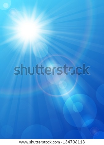 Vector illustration of the sun in a blue sky with rainbow - stock vector