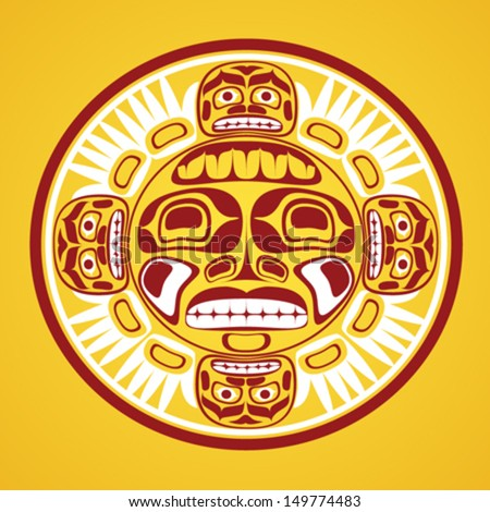 Vector illustration of the sun symbol. Modern stylization of North American and Canadian native art in traditional colors - stock vector