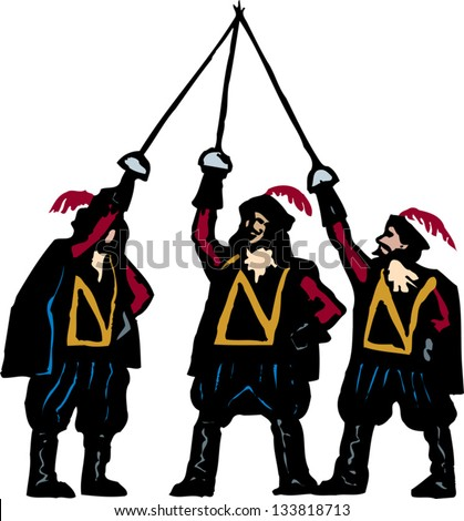 Vector illustration of the three musketeers - stock vector