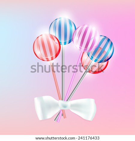 Vector illustration of the transparent lollypops with stripes on the pink background - stock vector