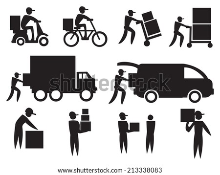 Vector illustration of the work of a delivery man. Black on white icon set. - stock vector