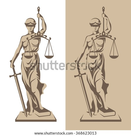 Vector illustration of Themis statue holding scales balance and sword isolated on white background and silhouette on colored background. Symbol of justice, law and order - stock vector