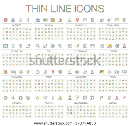 Vector illustration of thin line icons for business, banking, contact, social media, technology, seo, logistic, education, sport, medicine, travel, weather, construction, arrow. Color symbols set. - stock vector